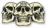 Vintage Biker 3 Gothic Skulls Year Dated Skull 2020 Cafe Racer Helmet Vinyl Car Sticker 120x70mm